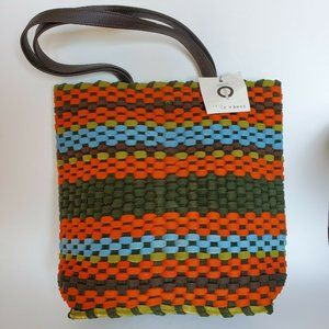 Tote LeMonde NY wool Woven Tote Crossbody Leather